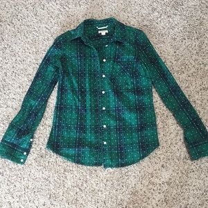 Merona Women's Green Plaid Button Up Shirt
